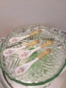4-PORCELAIN-CONDIMENT-MARMALADE-SPOONS-Ladies-Tea-Cup-Party-Lot-Set-Vtg-Floral