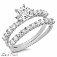 3.0 CT Engagement Bridal Ring band set Round Cut Diamond Simulant 14k White Gold