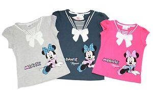 Girls-Kids-MINNIE-MOUSE-T-Shirts-Kids-Disney-Tee-Sequin-Bow-Pink-Top-New-Age-2-8