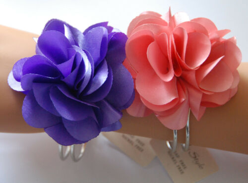 NWT Cloth Flower Bracelet Pink or Purple Flower Silver-tone Hinge Band