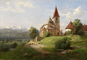 Art-Oil-painting-19th-century-southern-german-school-landscape-amp-church-canvas