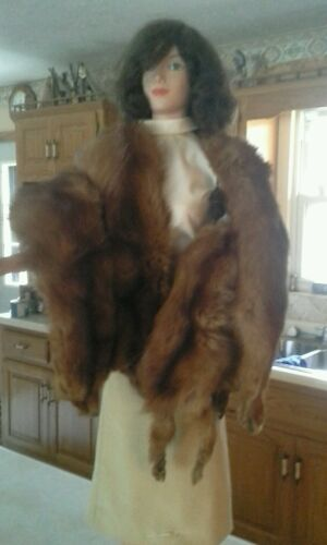 "Mink Vintage Genuine Fur Stole Fashions Dolls Rare BK 4243"" Double & Styled 56"