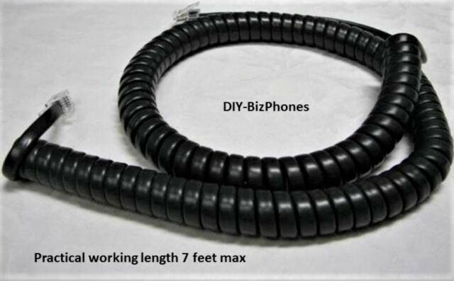 10 Pack-12 FOOT Modular Coiled Telephone BLACK Handset Phone Cord 12ft 12/' Feet