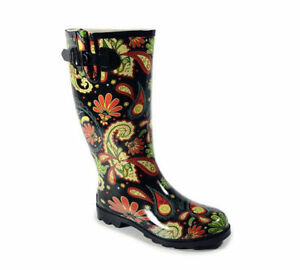 c27719f5fea Details about Corkys Footwear Ladies Sunshine Style Paisley Pattern Tall  Rain Boots