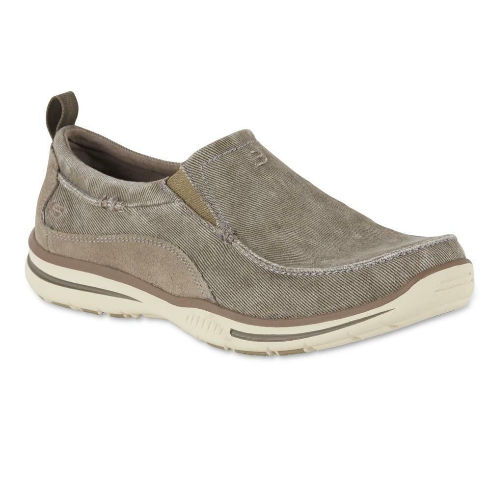 New Uomo Skechers Relaxed Fit Elected Drigo Casual Slip Shoe Slip Casual on Gray Memory Foam 881877