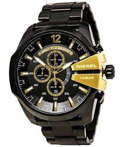 New-Diesel-Mega-Chief-Chronograph-Black-Gold-Stainless-Steel-Men-039-s-Watch-DZ4338