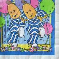 Bananas In Pajamas Vintage Small Napkins (16) Birthday Party Supplies Dessert