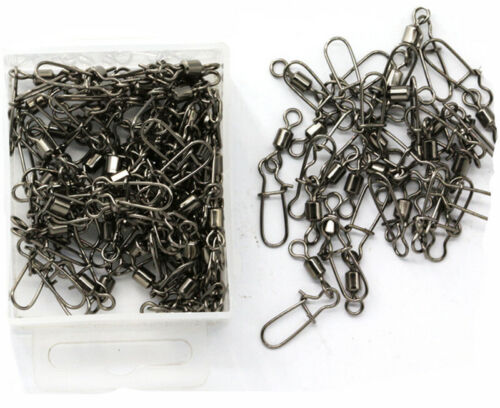 Details about  /Lot 100*Durable Fishing Rolling Swivels with Nice Snap Fishing Tackle Connectors