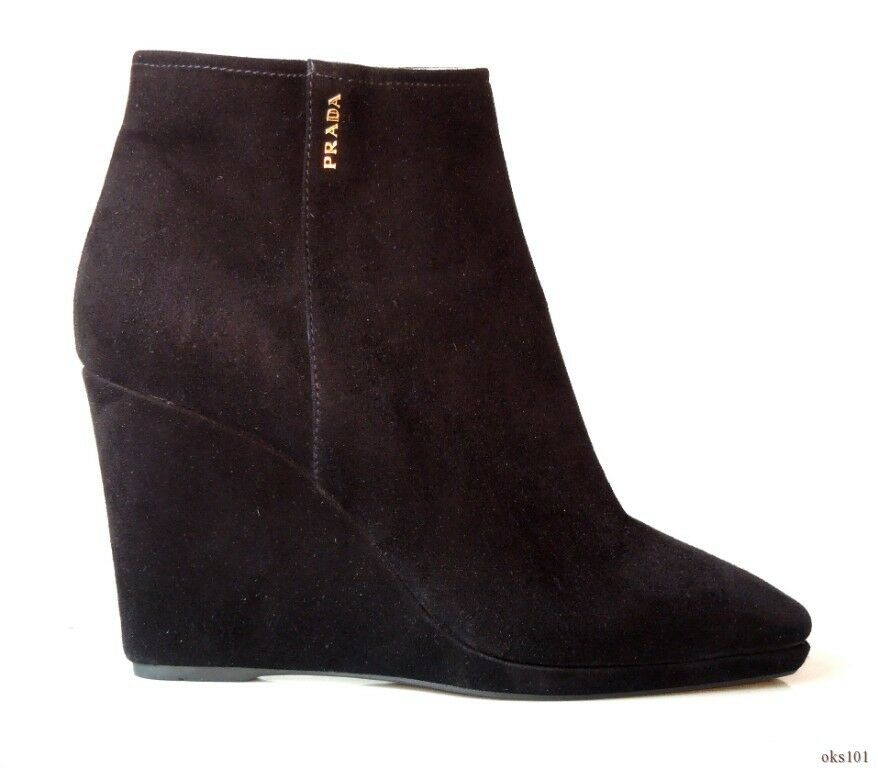 new $860 PRADA black suede gold LOGO WEDGE heel ankle boots shoes 39 US 9 - HOT