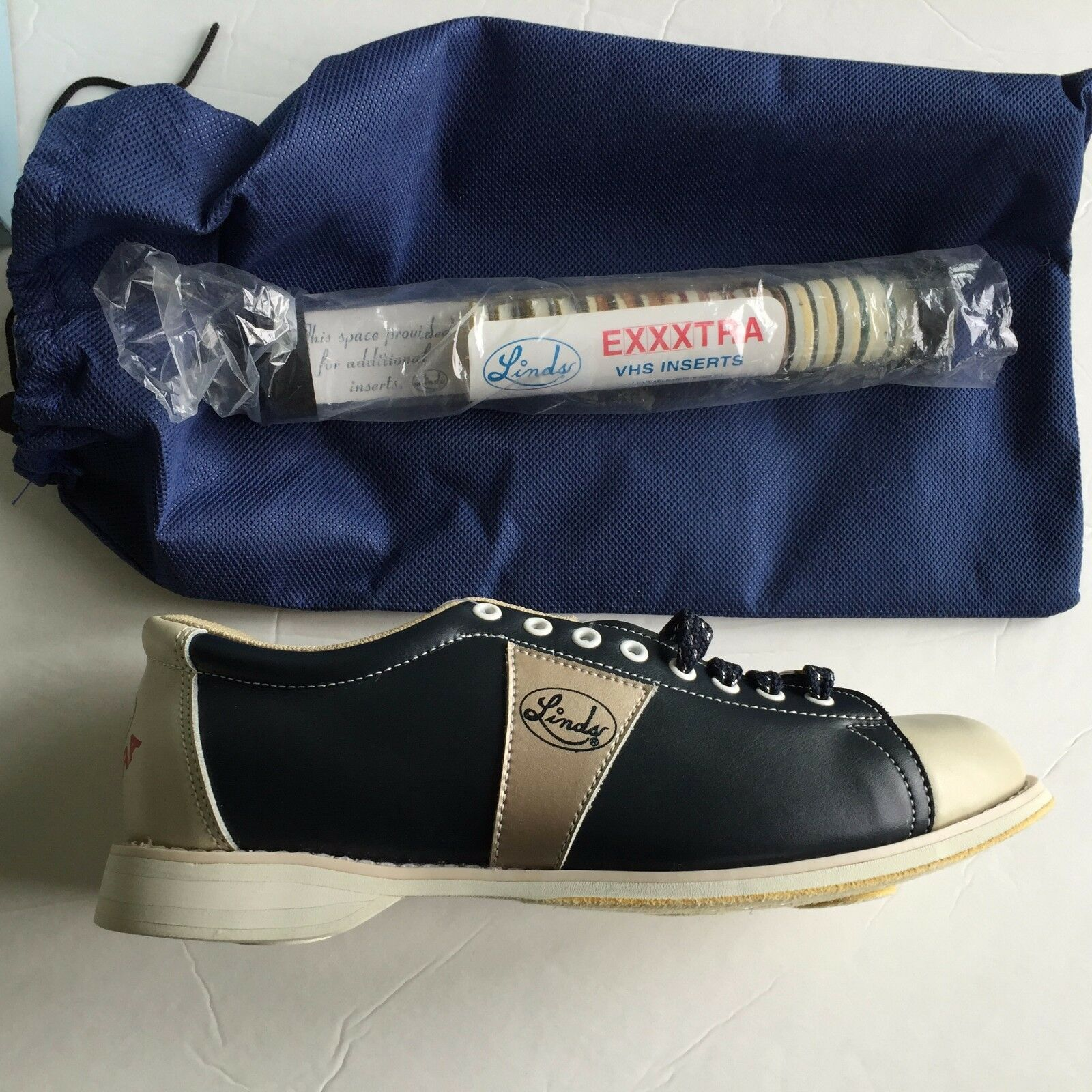 Linds Men's CLASSIC EXXXTRA NAVY CREAM  LH  Bowling shoes size  5  NEW IN BOX