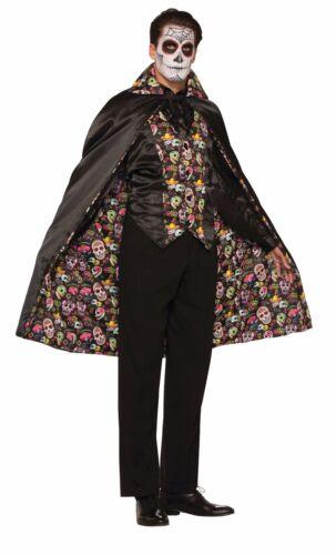 Halloween Giorno dei Morti Uomo Nero Mantello TESCHIO Colorato Stampa Costume