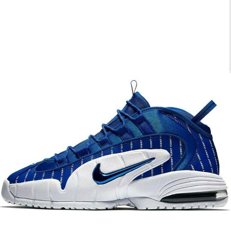 Nike Air Max Penny 1 Cent Pinstripe Royal bluee White Foamposite AV7948-400 Sz 14