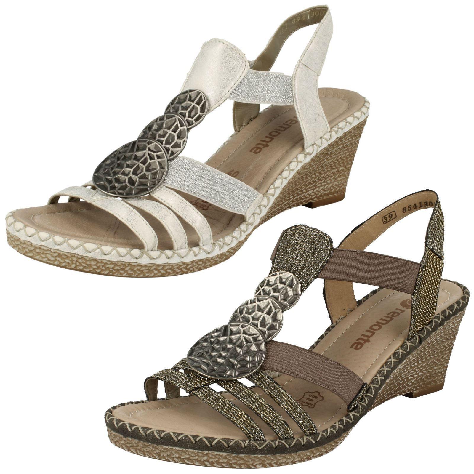 Último gran descuento Ladies Remonte D6747 Silver/Platinum Or Grey Wedge Heel Sandals
