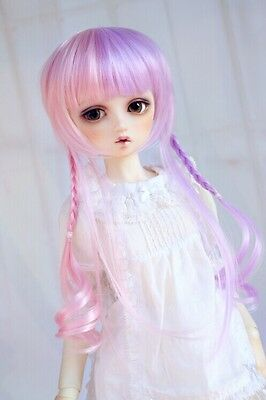 "BJD Doll Hair Wig 8-9""1/3 SD DZ DOD LUTS Pink Purple Mixed Long"