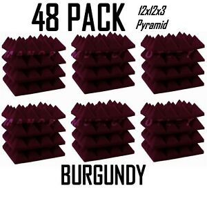 12x12x3-034-Acoustic-Foam-Pro-Pack-48-Burgundy-Pyramid-Studio-Soundproofing-Tiles