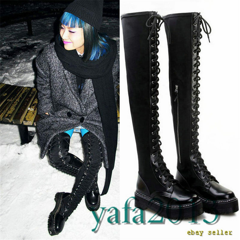 Women's Black Military Stretchy Thigh High Boots Over the Knee Platform Oxfords