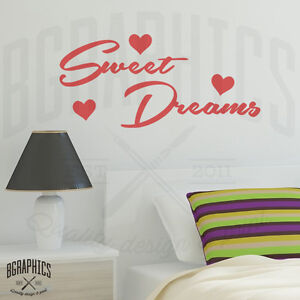 sweet dreams wall art sticker quote with hearts bedroom vinyl wall