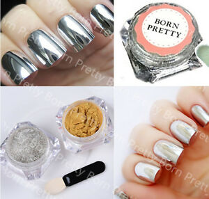 Image Is Loading Shiny Nail Glitter Mirror Powder Chrome Art