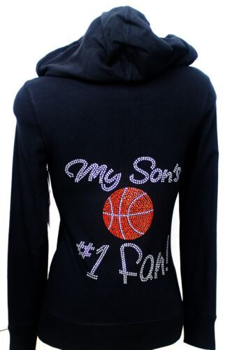 LIGHT JUNIOR HOODIE MY SON/'S #1 FAN  RHINESTONE BASKETBALL MOM TOP NEW