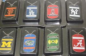MLB-Baseball-Collegiate-Team-Dog-Tag-Ball-Chain-Necklace-Engravable-Licensed