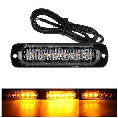 Amber 18W 6 LED Bar Car Truck Strobe Flash Emergency Warning Light Lamp 12V-24V