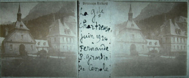 Targa stereoscopico fotografia Il monastero di la Grande Chartreuse 1924