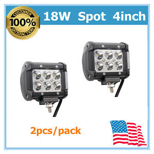 2X-4INCH-18W-LED-WORK-LIGHT-BAR-SPOT-DRIVING-OFFROAD-UTE-CAR-VEHICLE-PODS-TOP-MS