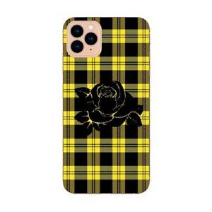 Coque Iphone 12 PRO MAX tartan jaune fleur