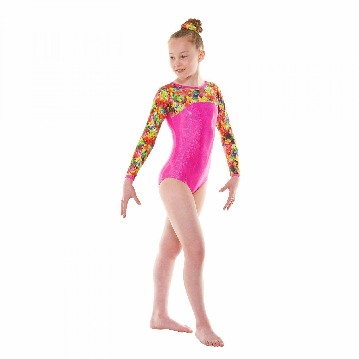 LONG SLEEVED GYMNASTICS LEOTARD PATTERNED & FOILED NYLON LYCRA (GYM51)