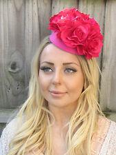 Hot Cerise Pink Rose Floral Teardrop Fascinator Hat Headband Races Flower 6735