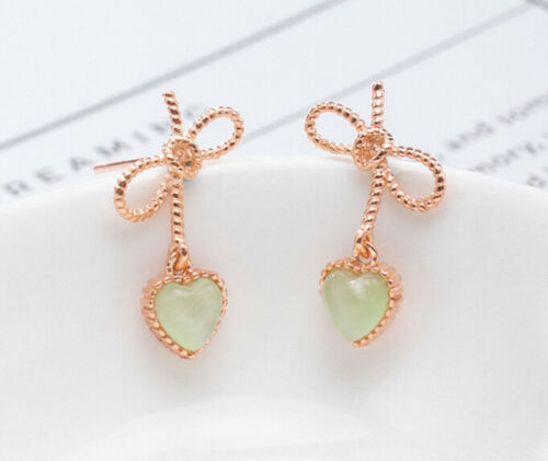 F04 arete plata 925 rotvergoldet bucle y corazón de verde gatos ojo