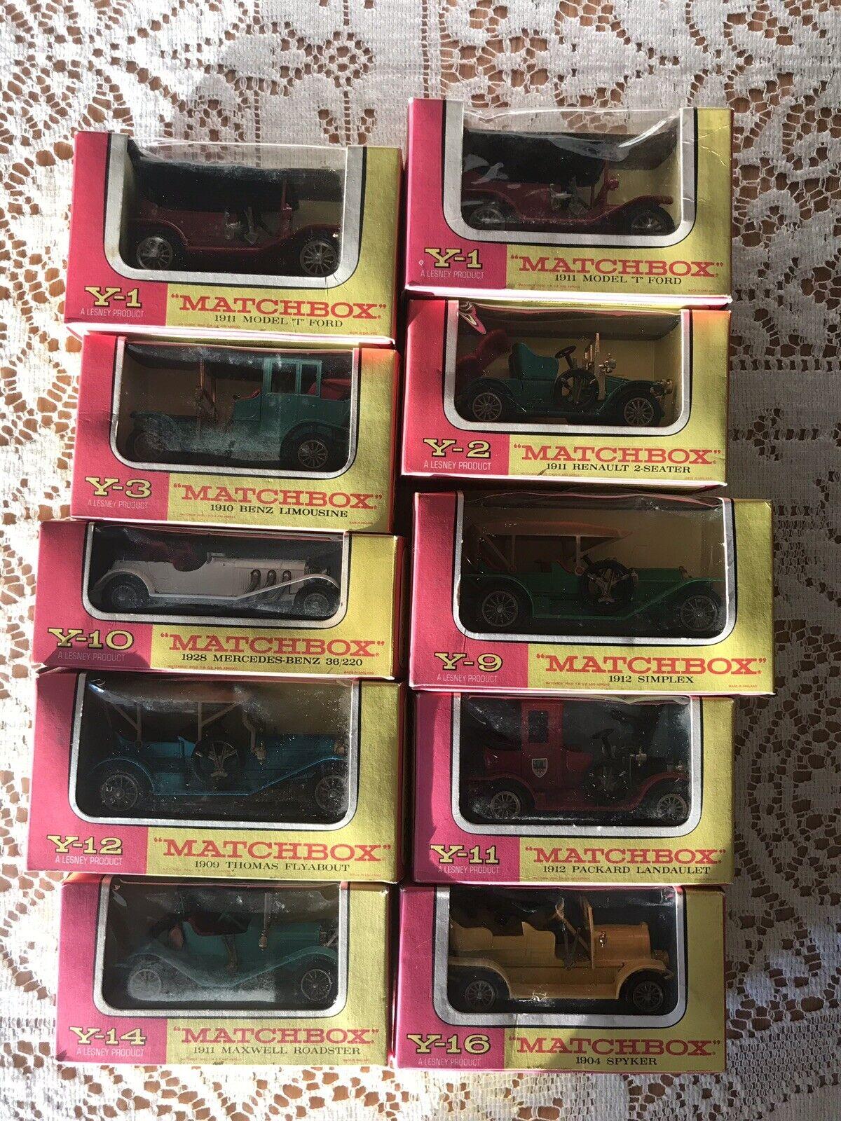 10 Vintage Antique Matchbox Y Series  Y1 (2), Y2, Y3, Y9, Y10, Y11, Y12, Y14,Y16