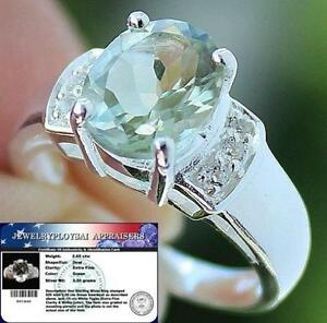 Natural-2-65-Cts-Green-AMETHYST-amp-White-TOPAZ-925-Sterling-Silver-RING-S7-0