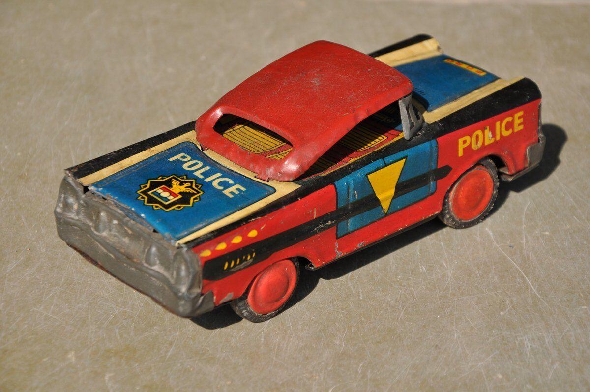 Fricción Vintage Rojo, Azul, Amarillo Litografía Ford Coche De Policía Juguete de estaño