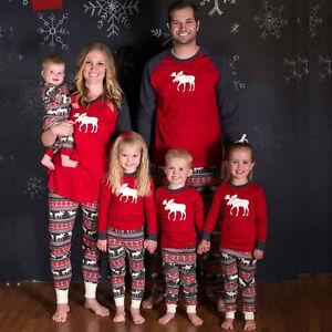 Moose-Fairy-Christmas-Family-Pajamas-Set-Adult-Women-Kids-Sleepwear-Nightwear