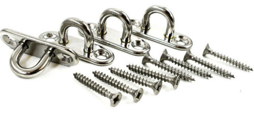 PACK OF 4 A4 STAINLESS STEEL 5 x 45mm TYPE A PAD EYES WOOD SCREWS BOAT STAPLE