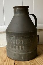 Rare Miller?s Farm Dairy Metal Milk Jug, New Canaan, Conn, Embossed, w/ history
