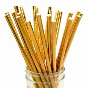 20-Gold-Foil-paper-straws-Eco-friendly-bio-degradable-wedding-party-cocktails