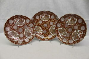 """NM 3 Pc Hand Painted GOLD IMARI Scalloped Red & Gilt 9.75"""" & 10.5"""" Plates, Japan"""
