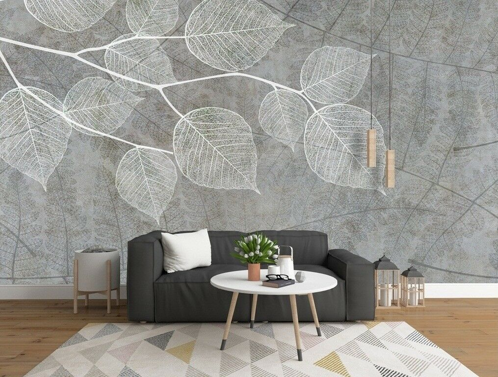 3D White Leaf 27 Wall Paper Exclusive MXY Wallpaper Mural Decal Indoor wall