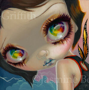 Fairy-Face-198-Jasmine-Becket-Griffith-Art-goth-butterfly-faery-SIGNED-6x6-PRINT