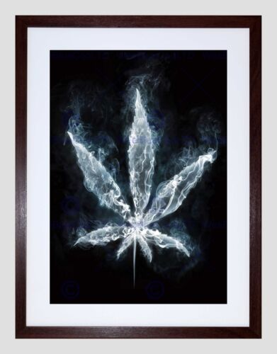 PAINTING DRAWING SMOKING MARIJUANA WEED LEAF BLACK FRAMED ART PRINT B12X13258