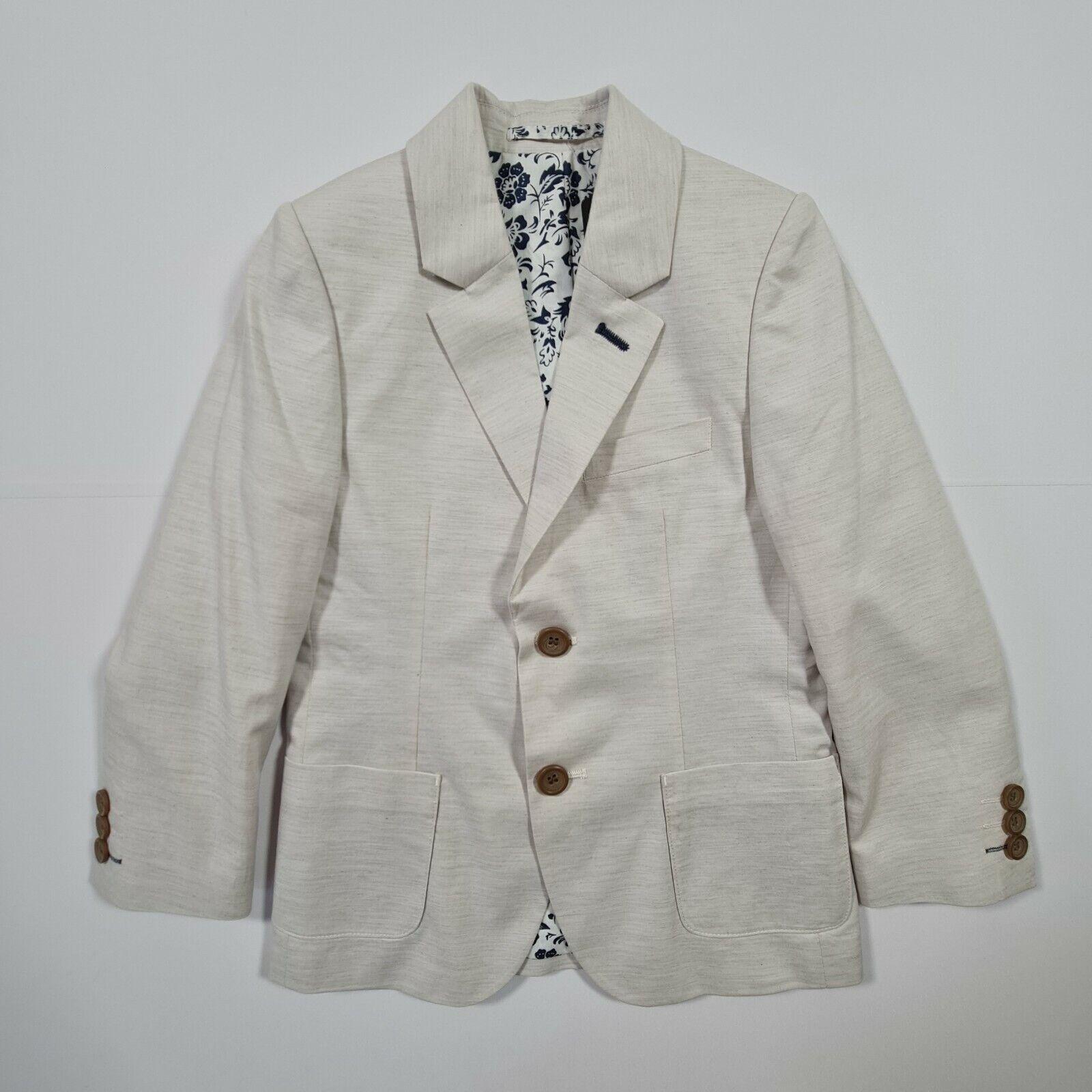 Boys Grey Twill Suit Jacket Blazer Kids Age 6 Years
