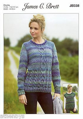 James Brett JB338 Knitting Pattern Jumper and Slipover in Marble Chunky