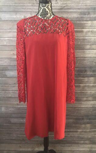 Vintage TRAVILLA Red Lace Illusion Cocktail Dress