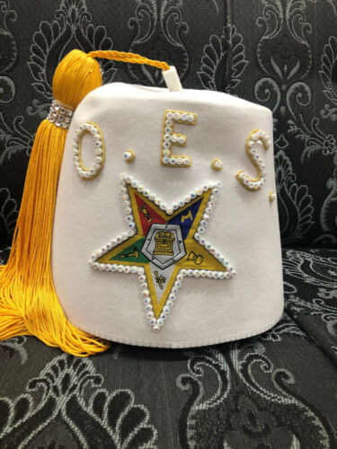 SPECIAL CUSTOM FEZ DOI FEZ OES FEZ WHITE FEZ ORDER OF EASTERN STAR FEZ