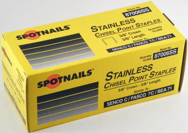 Spotnails 87008SS 22 Gauge 1//2 Leg x 3//8 Medium Crown Stainless Steel Fine Wir