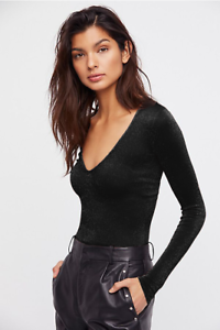 New-Free-People-Womens-Long-Sleeve-Seamless-Solid-Deep-V-Top-Sparkle-Black-48