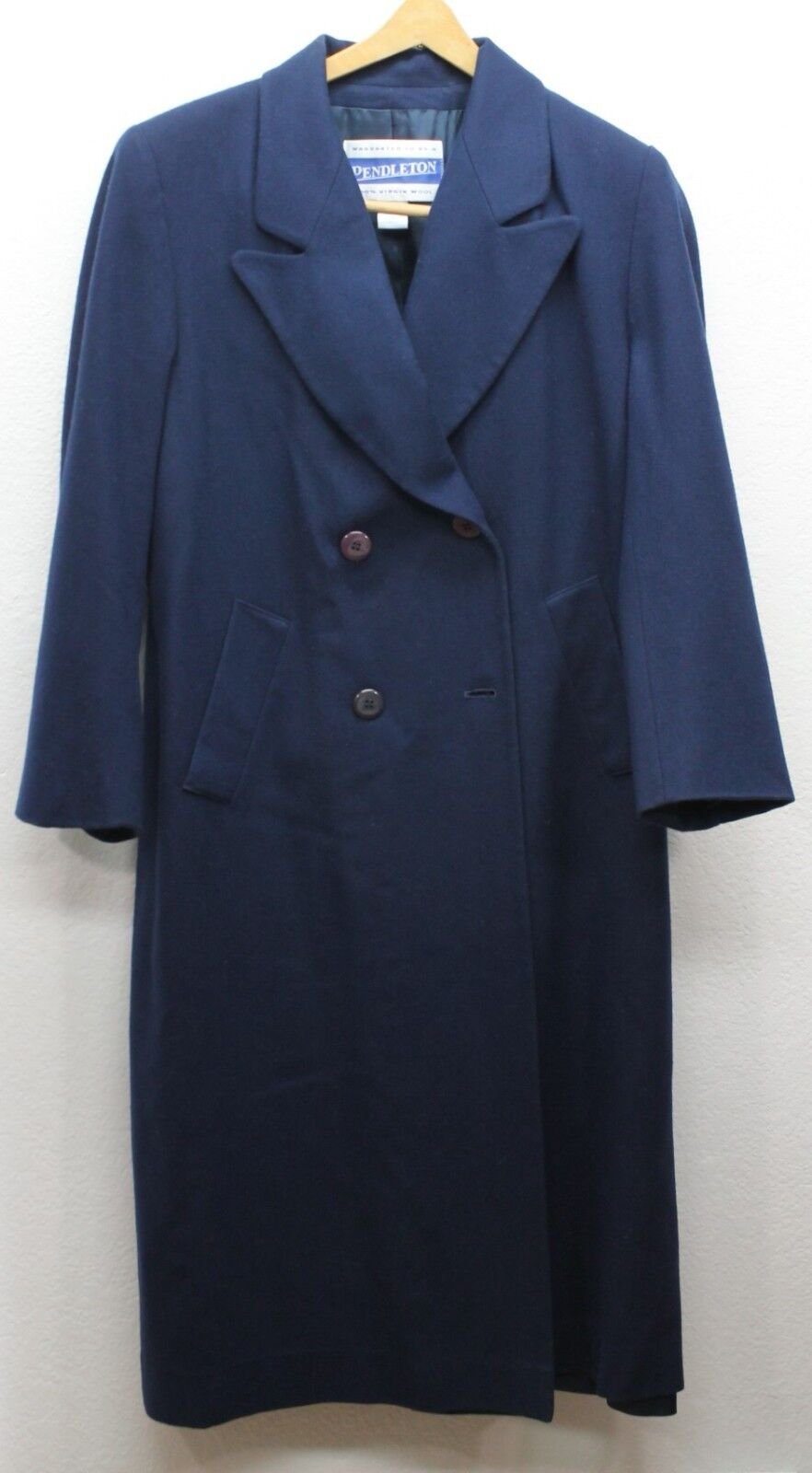 PENDLETON Full Length Long Coat Navy bluee Womens 100% Virgin Wool Size 4 Vintage