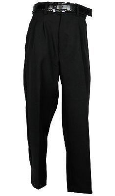 HUSKY BOYS BLACK DRESS PANT PLEATED TROUSERS WITH BLACK BELT Sizes 8H-20H